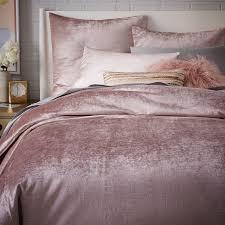 washed cotton er velvet duvet cover shams dusty blush west elm