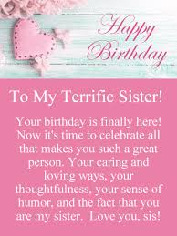 To Such A Great Sister Happy Birthday Card Birthday Greeting Classy Sis Love My Com