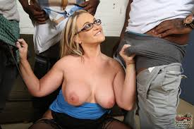Interracial blonde wife glasses