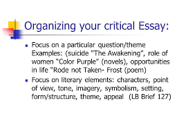 writing a critical essay ch features of the critical essay  3 organizing your critical essay focus on a particular