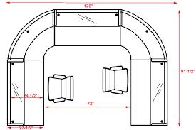 u shaped 2 person glass top reception desk