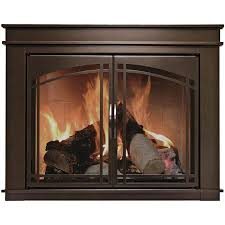 get ations pleasant hearth farlane cabinet prairie arch style fireplace glass door oil rubbed bronze small