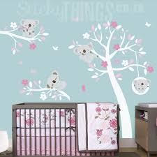 koala wall decal in white and pinks