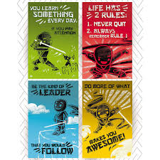 Throwbacktraits Ninja Illustrated Posters With Classroom Motivational Inspirational Quotes For Children Posters Are Ready To Motivate The Inner