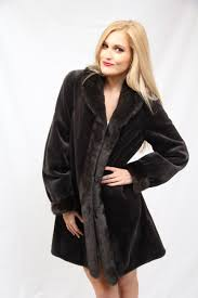 charcoal grey sheared mink reversible 3 4 coat with long hair mink trim