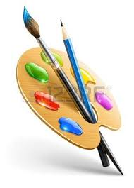 paint brushes and paint. art palette with paint brush and pencil tools for drawing royalty free cliparts, vectors, stock illustration. image 12100993. brushes