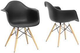 Amazon.com: Baxton Studio Pascal Plastic Mid-Century Modern Shell Chair,  Black, Set of 2: Kitchen & Dining