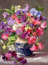 anne cotterill 1933 2010 sweet peas in a blue and white jug