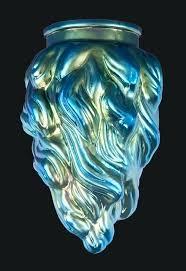 art glass lamp 3 1 4 fitter blue iridescent art glass flame pendant shade 7 1