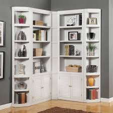 furniture large white wooden corner bookcase with shelves and