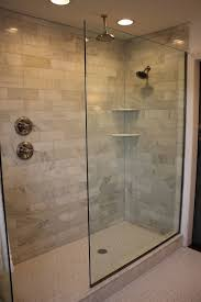 walk in shower lighting. Added Recessed Lighting And A New Hexagon White Tile Floor With Light Gray Grout. Kids\u0027 Showers No Glass, Walk In Doorless Shower E