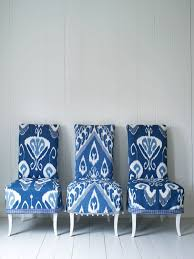 blue and white ikat chairs via interiors nut my version of heaven will be filled with blue and white ikat