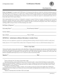 U S Department Of Justice Certification Of Identity Form Doj 361
