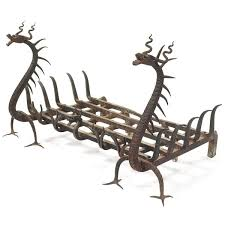 anonymous wrought iron fireplace grate c1910
