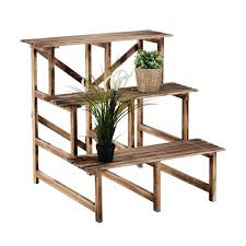3 tier wooden plant stand wooden 3 tier outdoor garden flower pot plant stand natural wood