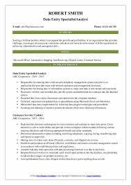 Data Entry Skills Resumes Data Entry Specialist Resume Samples Qwikresume