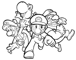 Small Picture colouring pages of Mario Yoshi Luigi and Wario for kids Coloring