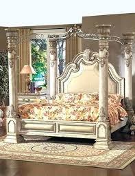 Victorian Canopy Bed Inspired Antique White Luxury King Poster ...