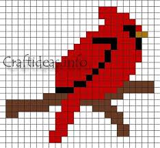 Perler Bead Pattern Custom Fuse Beads Or Perler Beads Cardinal Bird Pattern