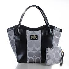 Coach Legacy Striped Monogram Medium Grey Totes FDO