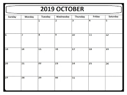Blank Editable Calendar Editable October 2019 Calendar Printable Template