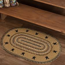 new primitive rustic brown black star braided rug area floor mat 20 x 30 24 99