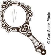 vintage hand mirror clipart. women\u0027s pocket mirror. - sketch isolated on white . eps 10. vintage hand mirror clipart