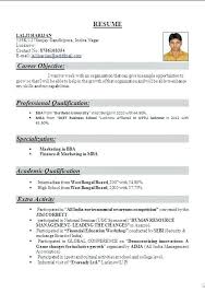 Sample Resume Format For Freshers Sarahepps Com