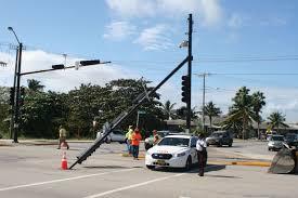 Traffic Light Pole Light Pole Falls On Smith Road Cayman Compass