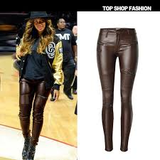 2019 2017 low waisted brown faux leather locomotive jeans plus size tight skinny leather pencil pants full length slim leather jeans from interfly168