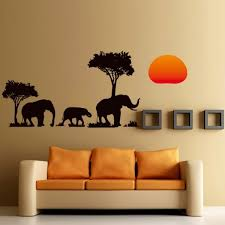 new arrival jungle wild cartoon tree elephant sunset removable decal home decor wall sticker wallpaper sofa wall diy decor