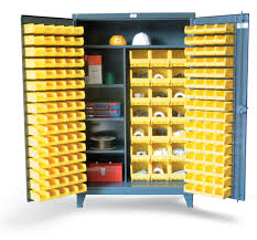 industrial storage cabinet with doors. Bin Storage Cabinet With Half-Width Shelves Industrial Doors I