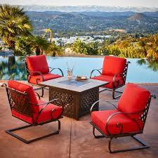 royal garden sienna 5 piece metal patio fire pit conversation set with red cushions