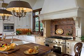 brick kitchen backsplash ideas with traditional ambiance and eye catching image