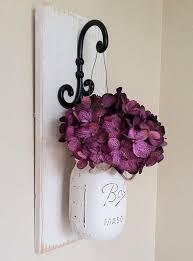 purple flower whitewashed mason jar wall decor