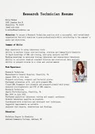 Research Technician Resume Resume Sample