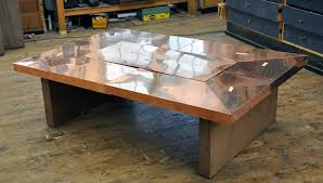 wood and copper coffee table hammered coffee table
