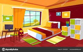 boy furniture bedroom. Bedroom Vector Illustration Of Teenager Girl Or Boy Room Interior Background. Cartoon Flat Design Teen Student Furniture Bed, Computer On Desk Table R