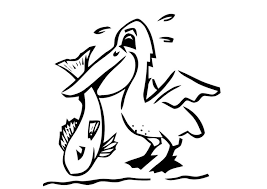 Small Picture Coloring page pelican with fish img 19618