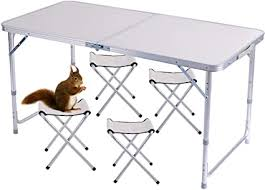 <b>Folding Table</b> 4ft with 4 Chairs <b>Portable Adjustable</b> Aluminum Alloy ...
