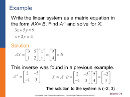example write the linear system as a matrix equation in the form ax b