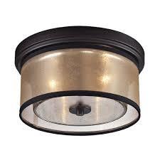 elk lighting diffusion oil rubbed bronze two light flush mount fixture