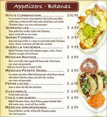 mexican food appetizers menu. Contemporary Appetizers Ritos Mexican Restaurant Naperville Menu In Food Appetizers 0