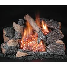rasmussen 30 inch chillbuster bark gas log set with vent free natural gas evening embers