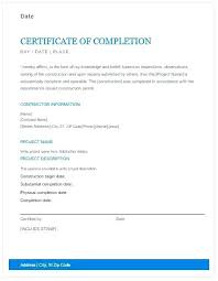 Certificate Of Completion Construction Templates Job Completion