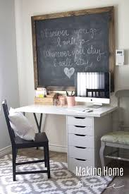 get a beautiful and bright workspace on a budget an ikea desk and a large beautiful home office chalkboard