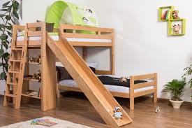 Image Triple Bunk Easy Furniture Shop Bunk Bed Childrens Bed Pauli With Shelf And Slide Solid Beech Wood Clearly Varnished Convertible Incl Slatted Frame 90 200 Cm