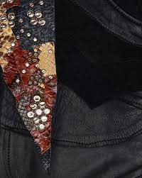 zoom studded patchwork er jacket in black leather and multicolored python spare view