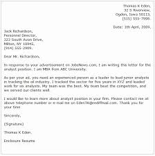 Business Analyst Cover Letter Example Analyst Cover Letter Examples