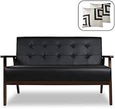Mid-Century Modern Solid Loveseat <b>Sofa</b> Upholstered <b>Faux</b> Leather ...